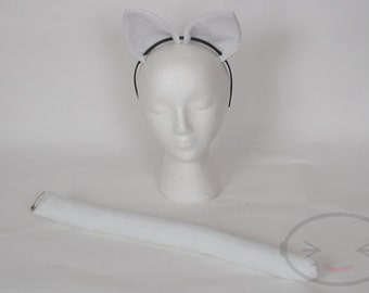 White Cat Tail and Ear Set, Cosplay, Accessories, Costume
