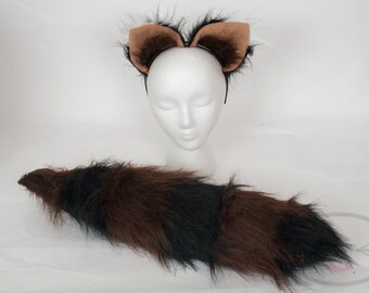 Chocolate Raccoon Furry Ear and/or Tail Set Cosplay, Accessories, Costume