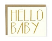 Hello Baby Card - New Baby Card, Hello Card, Baby Shower Card, Love Card, Notecard, Stationery, Hand Lettered Card