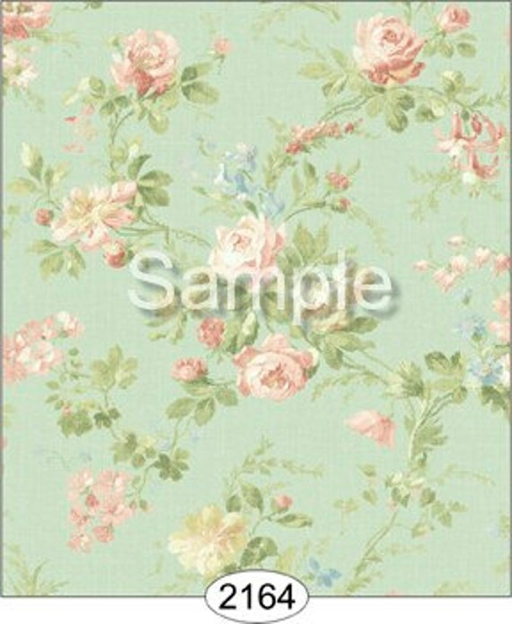 """Dollhouse Miniature Wallpaper, """"Peaches and Cream"""", Scale One Inch"""