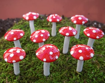 FREE Shipping 15 miniature mushrooms fairy garden miniatures terrarium pixie gnome accessories red