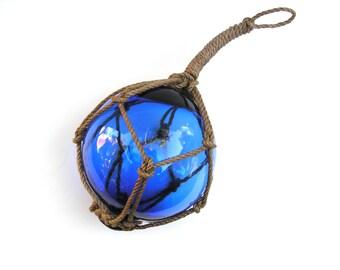 Glass Fishing Float, Glass Float, Glass Ball, Blue Glass, 6 inch, Cobalt, Beach Decor, Cottage Decor, Garden Decor