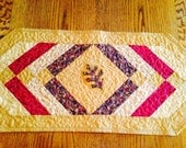 Quilted Table Runner Gold Fall Colors Leaf Applique