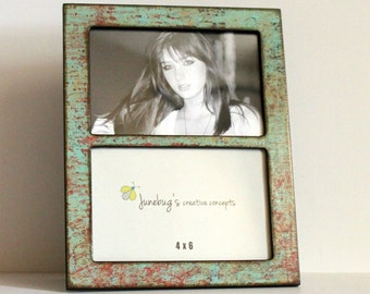 Double 4x6 or 5x7 2 Photo Picture Frame Oxidized Turquoise Red