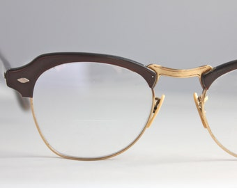 Vintage 50's Espresso 12K Horn Cat Eye Eyeglasses