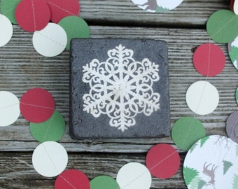 christmas coasters READY TO SHIP Holiday snowflake christmas coasters  rustic christmas country christmas grab bag gift office party gift