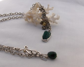 Raw Rough Natural Emerald Gemstone, Mixed Scrap Metal, Sterling Silver and 14kt, 22kt Gold Necklace