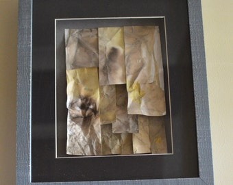 ORIGINAL WATERCOLOUR COLLAGE Hand Dyed Paper Artwork Collage, Shades of Yellow in a Frame, Watercolour Inks Tile 3d Effect