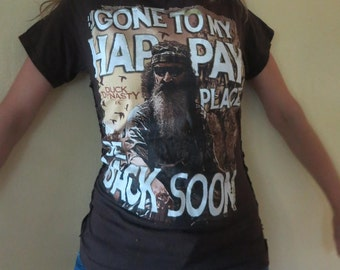 Shredded Duck Dynasty Top - Destroyed T Shirt - OOAK - Gone To My Happy Place - Be Back Soon