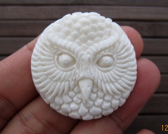 Hand carved Owl , Buffalo bone carving  cabochon, Free drilling  Jewelry Supplies S4859