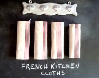 4 French Vintage unused kitchen towels  . Tea towels .Kitchen cloths  .French towels . Old linen.Old french linens