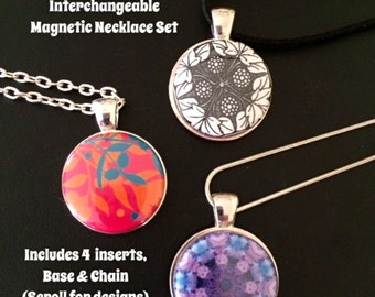 Interchangeable Magnetic Pendant Necklace or Bracelet Set
