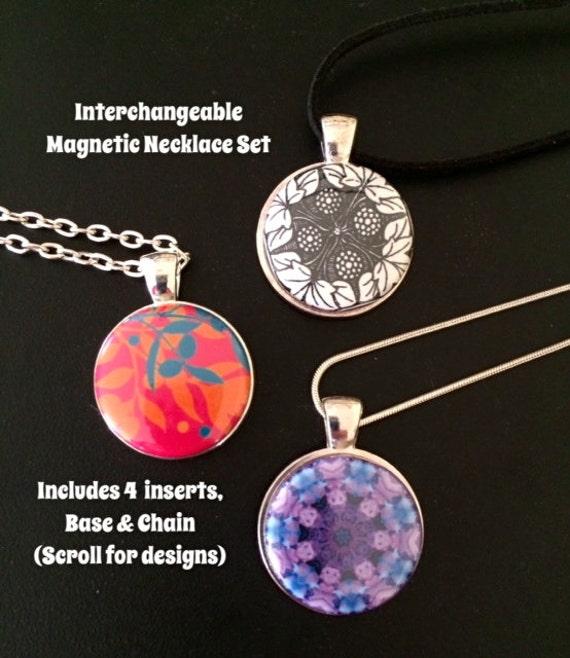 interchangeable magnetic pendant necklace or bracelet set