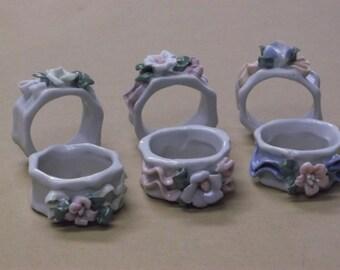 Vintage Porcelain Floral Napkin Holders Set of 6