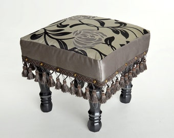 Silver Upholstered Footstool, Stool, Ottoman, Handcrafted, Botanical, Regal, Extra Seating, footrest, Optional coordinating pillow
