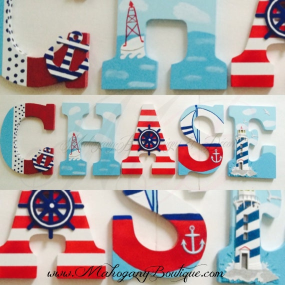 items similar to nautical theme wooden letters on etsy With nautical themed letters