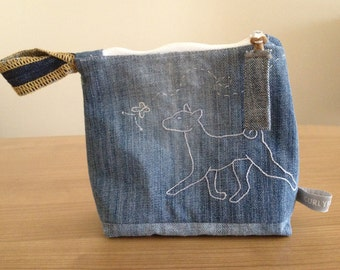 Zipper Pouch - BASENJI - Repurposed Denim Jeans - Handmade