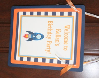 BLAST OFF Rocket Theme Happy Birthday or Baby Shower Door or Welcome Sign - Party Packs Available