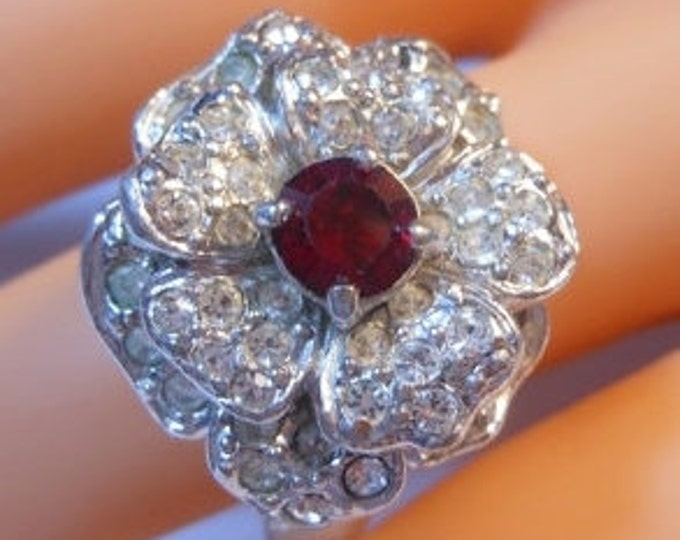 FREE SHIPPING Erwin Pearl Cocktail ring pave clear rhinestones and pronged faceted ruby rhinestone size 8