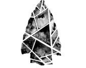 FREE Shipping! Geometric Tribal Arrowhead Painting or Print / Native American Arrow / #arrow #tribal #geometric #blackandwhite