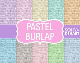 "50% OFF SALE Burlap Digital Paper Pastel ""Burlap Paper"" Linen Jute Textures Scrapbooking Cards"
