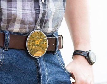 Men's Belt buckle - Big Geeky Belt buckle - Yellow / Olive Green Circuit board - unk