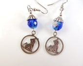 Cat in a circle earrings