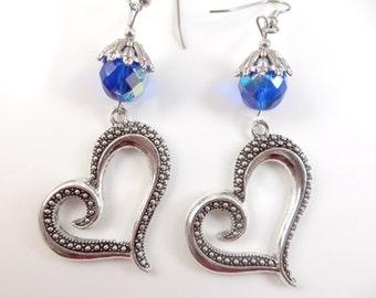 Fancy silver heart earrings