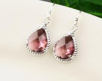 Plum Earrings - Silver Eggplant Glass Drop Earrings - Plum Bridesmaid Jewelry - Wedding Jewelry