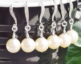 Cream Pearl Bridesmaid Earrings SET OF 8 - 15% OFF Pearl Drop Earrings - Swarovski Pearl Earrings - Wedding Jewelry Set - Bridesmaid Jewelry