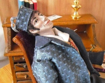 Dollhouse Doll, John, 12th scale Victorian/Edwardian Gentleman Made by Linda Elgenes by Snowflake Miniatures.
