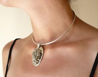 sterling silver pyrite choker