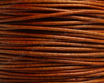 0.5mm Natural Orange Premium Leather Cord - 3 Yards / 9 Feet / 2.74 Meters