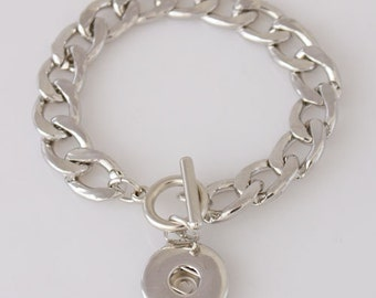 "1 Chain Toggle Bracelet - 7.25"" FITS 18MM Candy Snap Charm Jewelry Silver KB3347 Cj0093"