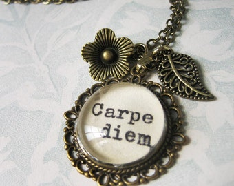 Carpe diem Inspirational pendant with quote  charm necklace with inspiring message  jewelry necklace for women with typewritten quote