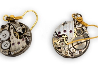 Pair of Stempunk Inspired Watch Movement Earrings with Gold Plated Hook Wires. Hand Made in Cornwall