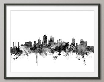 Kansas City Skyline Cityscape Art Print (1499)