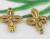 10 Cross Charms Antique Gold Tone 18 x 13 mm  Ships From The United States - cg082