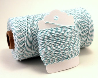 Teal Twine - Greenish Blue Bakers Twine - Stripe Teal Divine Twine - Pastel Cotton String - Teal Gift Wrap - Neutral Baby Shower Favor Twine
