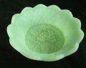 Fenton Green Satin Custard Bowl Raised Grape Pattern