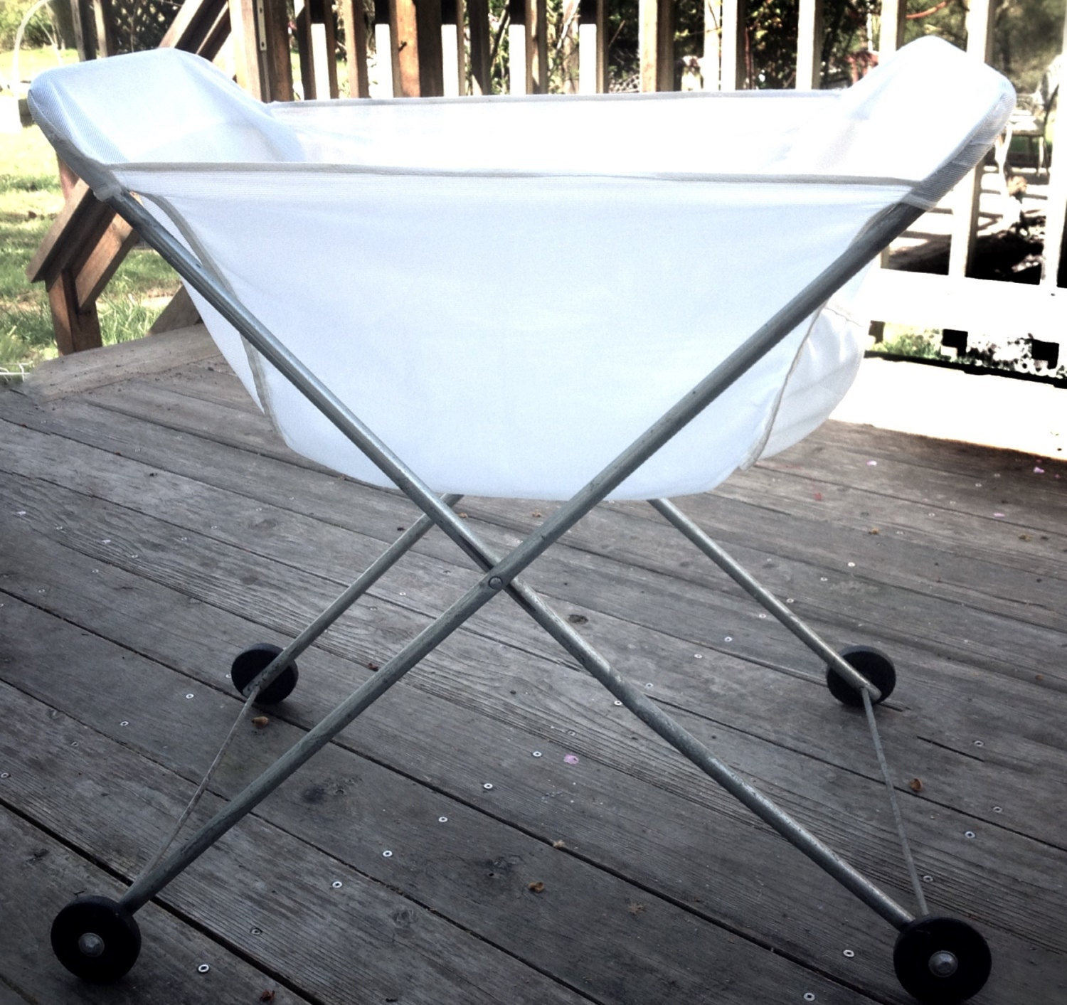 Vintage folding laundry basket on casters mid by maisjamais - Collapsible laundry basket with wheels ...