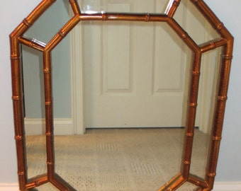 Faux Bamboo Gold Octagonal Mirror-Local Pick up or fedex/UPS