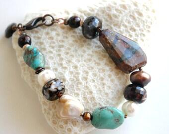 Gemstone Bracelet, Chunky bracelet, Genuine Turquoise, Chrysoprase, Asymmetrical, Smoky Quartz, Gift for her, Semiprecious Brass Jewelry