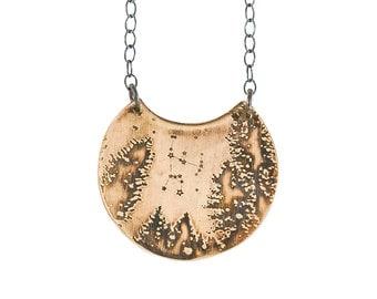 """Night sky """"Orion""""  Brass Necklace"""