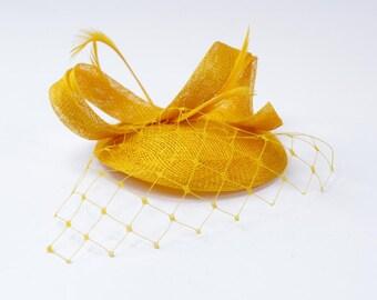 Yellow Fascinator ,Hat,Sinamay, Cocktai Hat