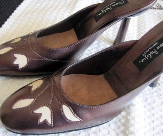 Made in Italy Slide Shoes -  Mario Bologna Bronze Leather  - Tan Cutwork - Sz 7 1/2 Pump