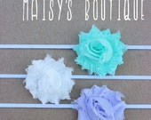 75% Off Set of 3- Petite Under the Sea Shabby Flower Headband Set/ Newborn Headband/ Baby Headband/ Flower Girl/ Wedding/ Photo Prop