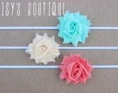 75% Off Set of 3- Petite Sea Foam Green, Ivory & Coral Shabby Flower Headband Set/ Newborn/ Baby Headband/ Flower Girl/ Wedding/ Photo Prop