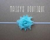 75% Off Aqua Shabby Flower Headband/ Newborn Headband/ Baby Headband/ Flower Girl/ Wedding/ Photo Prop