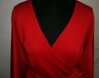 Handmade Scuba Jersey Wrap Dress with Split Batwing Sleeves